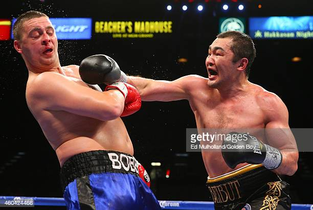 Beibut Shumenov lands a right hand to the head of Robert Thomas Jr during their cruiserweight fight at the MGM Grand Garden Arena on December 13 2014...