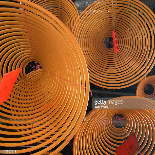 beidi temple - incense coils stock photos and pictures