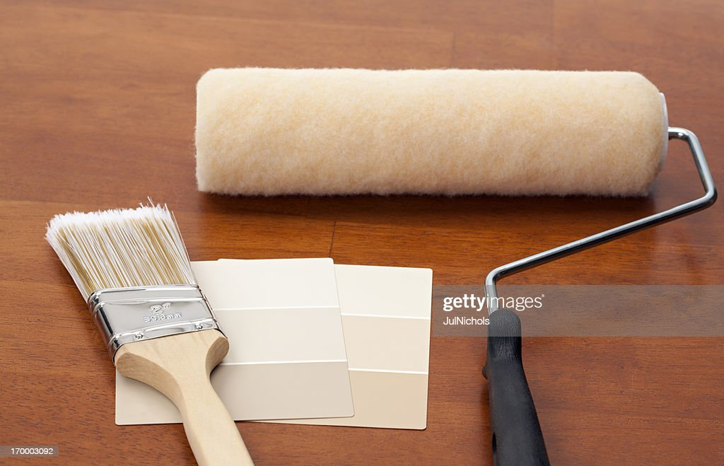 Beige Color Swatch with Paint Equipment : Stock Photo