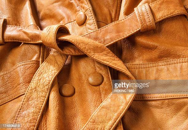 Beige Leather Coat Detail
