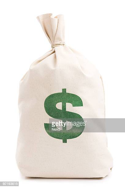 beige money bag with green dollar sign against white - money bag stock pictures, royalty-free photos & images