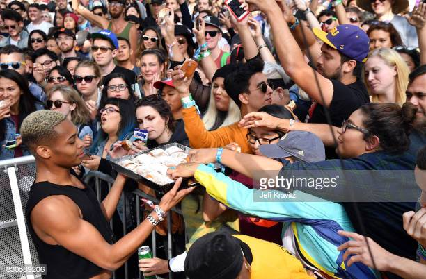 Beignets are served to festivalgoers onstage during the 2017 Outside Lands Music And Arts Festival at Golden Gate Park on August 11 2017 in San...