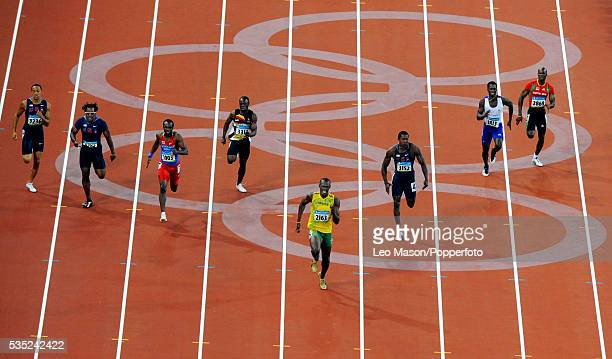 Beijing 2008 Athletics Mens 20m FinalUsain Bolts wins in a new world record time from Churandy Martina and Shawn Crawford