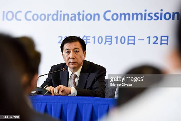Beijing 2022 Executive Vice-President and Beijing Vice Mayor Zhang Jiandong speaks during the 1st Meeting of the IOC Coordination Commission of the...