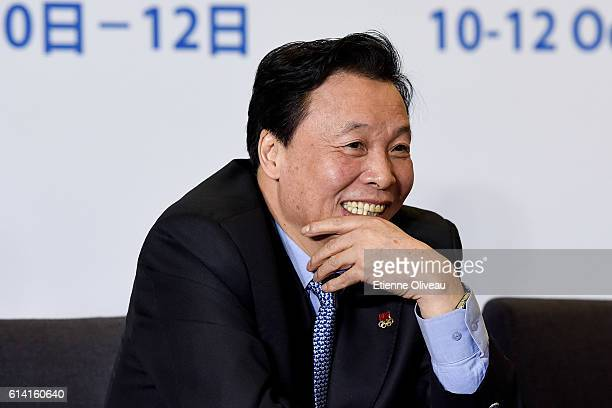 Beijing 2022 Vice President, Deputy Director General of the State Sports General Administration Yang Shuan speaks during the 1st Meeting of the IOC...