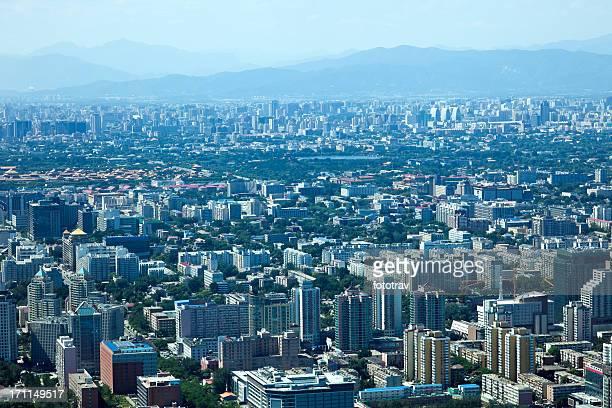 Peking, Luftaufnahme, die Verbotene Stadt und Umweltverschmutzung