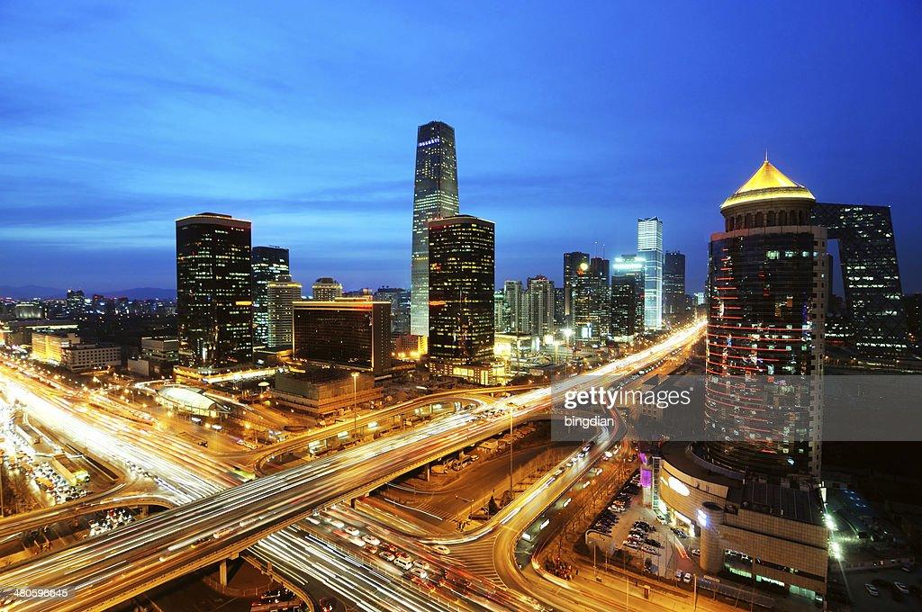 beijing after sunset-night scene of CBD : Stock Photo