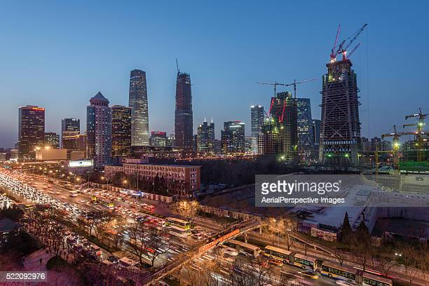 Beijing CBD area and some Large Constructions Site with Cranes