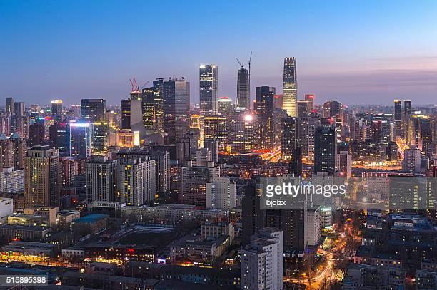 Beijing CBD Skyline bei Nacht