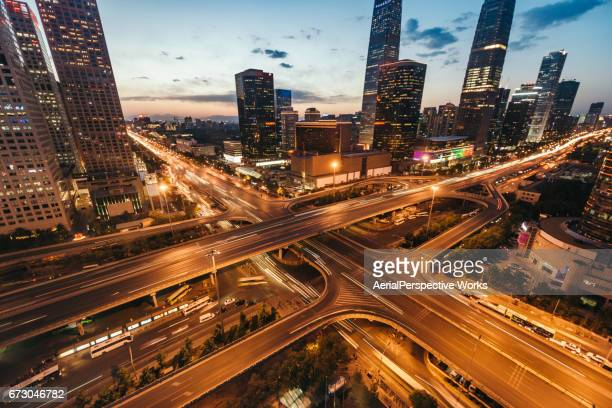 Beijing Central Business District and Road Intersection at Dusk