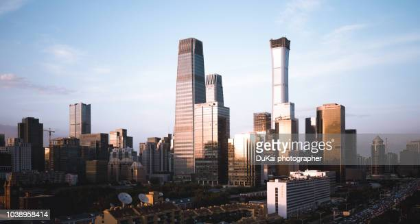 beijing central business district. - pékin photos et images de collection