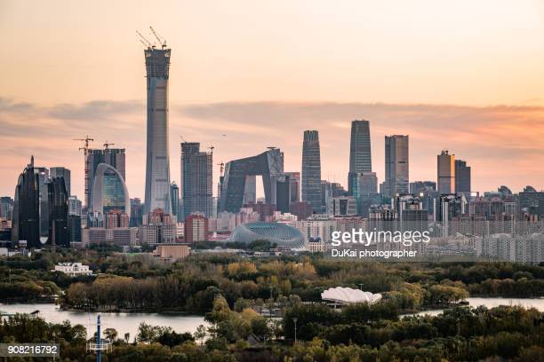 beijing central business district. - beijing province stock photos and pictures
