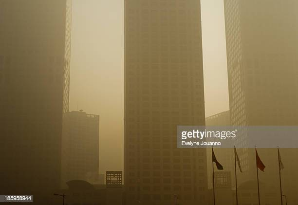 CONTENT] Beijing China air pollution day highest level hazardous airpocalypse smog business district buildings flags