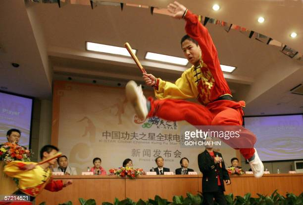 Chinese Kungfu exponents perform during a press conference to announce a Chinese television station plans to launch a global kung fu reality show in...