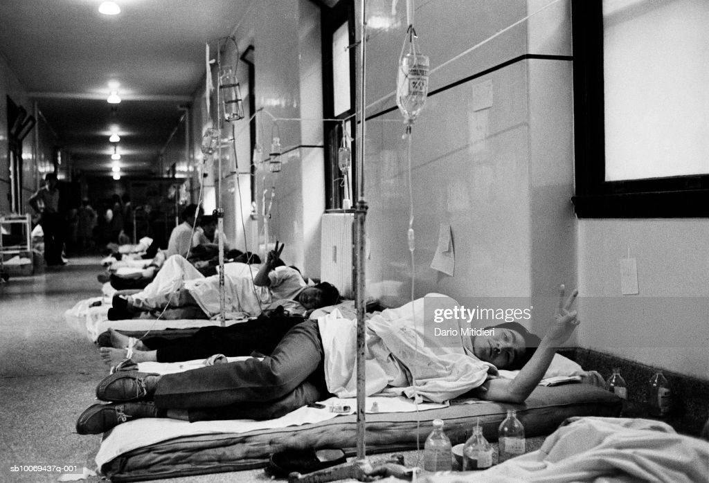 1989, Beijing, China, Democratic protestors lie in a corridor of Capital hospital after being wounded during the Chinese army occupation of Tiananmen Square during the night between the 3rd and 4th June, 1989. ,; date created: 2008:05:06; Tiananmen Square Massacre