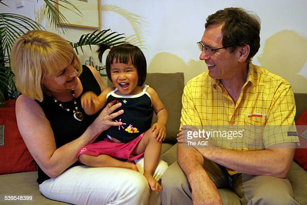 Beijing China Doris Burkhard Dehm with the daughter they hope to adopt Anna in Beijing 8 June 2005 THE AGE NEWS Picture by NATALIE BEHRING