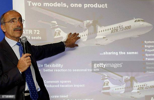 French and Italian airplane manufacturer ATR's chief executive Filippo Bagnato introduces the company's aircraft at a press conference in Beijing 12...