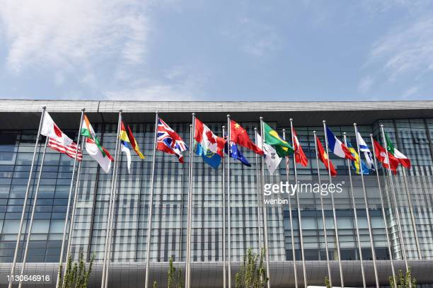 beijing, china, national convention center,  flags, - national landmark stock pictures, royalty-free photos & images