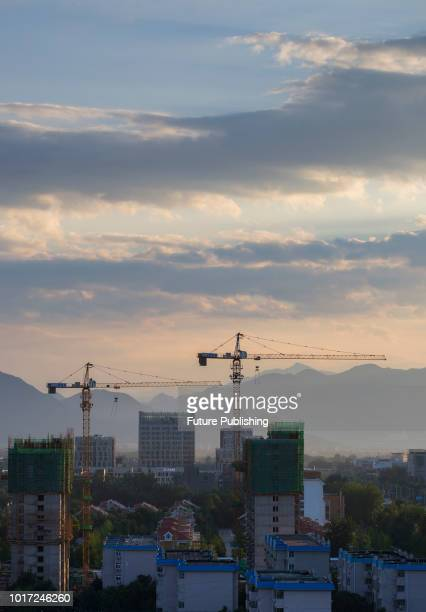 Beijing China on the evening of August 15 2018 The ladder of God in the sky also known as the light of Jesus is called the Tindal effect or the...