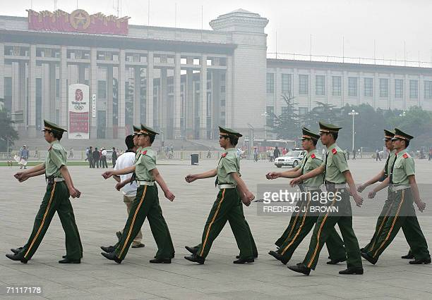 Paramilitary police march on Tiananmen Square, 04 June 2006, amid heightened security on the 17th anniversary of the 1989 Tiananmen Square massacre...