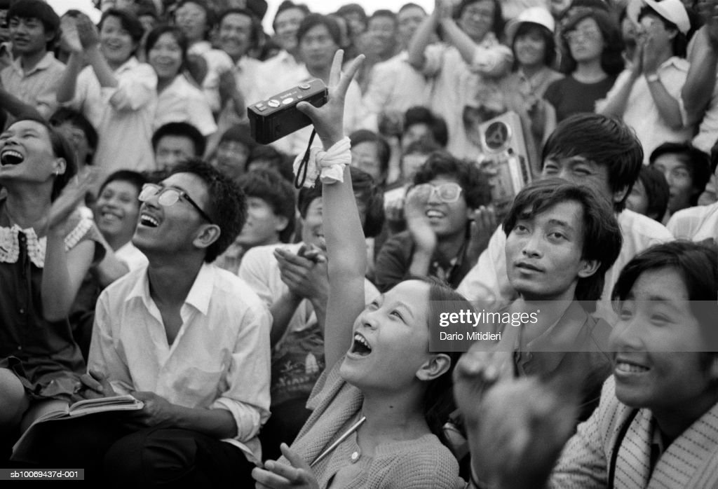 1989, Beijing, China, Peaceful protesters applaude a student' speech in Tiananmen Square a few days before the bloody Chinese army crackdown on the pro-democracy movement in Beijing, June 1989.