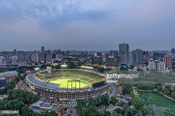 beijing, china skyline and stadium. - football league stockfoto's en -beelden