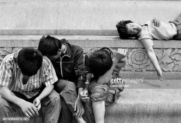 1989 Beijing China Students in the early morning on Tiananmen Square just days before the massacre in June 1989