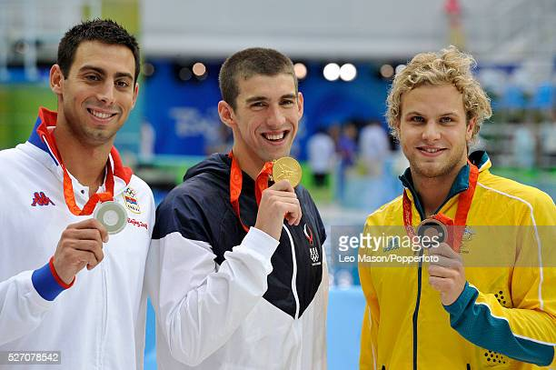 2008 BEIJING OLYMPIC GAMES Beijing China Swimming 100m Butterfly final Michael Phelps wins his 7th gold medal to equal Mark Spitzs record