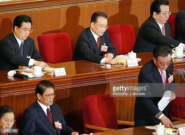 Top Chinese leaders President Hu Jintao Premier Wen Jiabao Vice President Zheng Qinghong and Chairman of the National People's Congress Wu Bangguo...