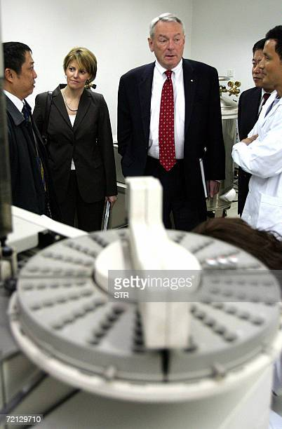 World AntiDoping Agency chief Dick Pound visits an Chinese antidoping test center in Beijing 09 October 2006 Pound the former International Olympic...
