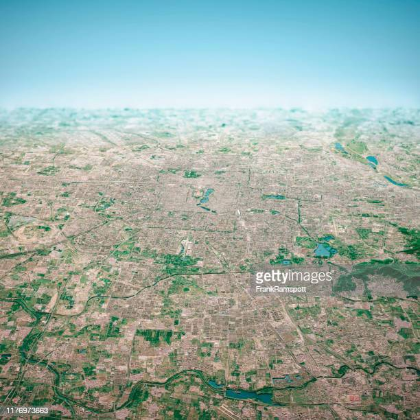 beijing city 3d render aerial horizon view from north aug 2019 - frankramspott stock pictures, royalty-free photos & images