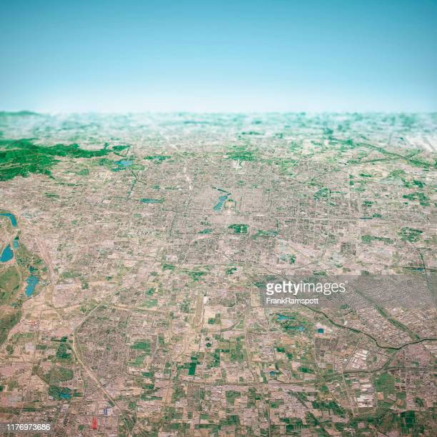 beijing city 3d render aerial horizon view from south aug 2019 - frankramspott stock pictures, royalty-free photos & images