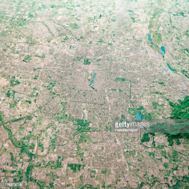 beijing city 3d render aerial landscape view from north aug 2019 - frankramspott stock pictures, royalty-free photos & images
