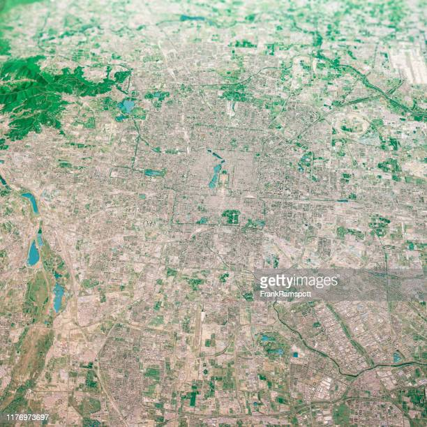 beijing city 3d render aerial landscape view from south aug 2019 - frankramspott stock pictures, royalty-free photos & images