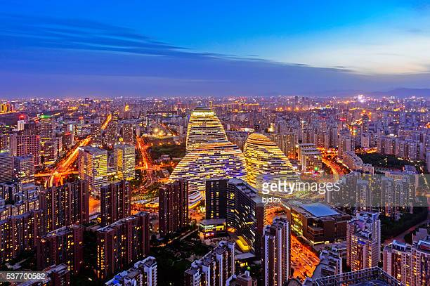 beijing city night panorama - beijing province stock photos and pictures