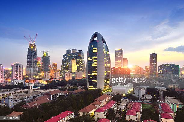 beijing city skyline and cctv headquarters, china - beijing stock pictures, royalty-free photos & images