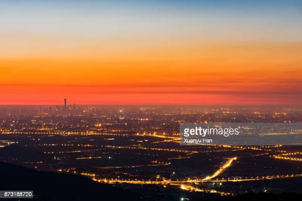 Beijing City Skyline, China, Aerial View at Sunrise