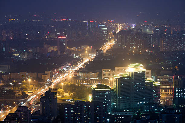 Beijing Cityscape At Night, Aerial View, China Wall Art