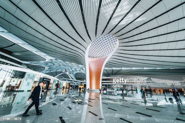beijing daxing new international airport terminal (pkx) in china. - global entry stock pictures, royalty-free photos & images