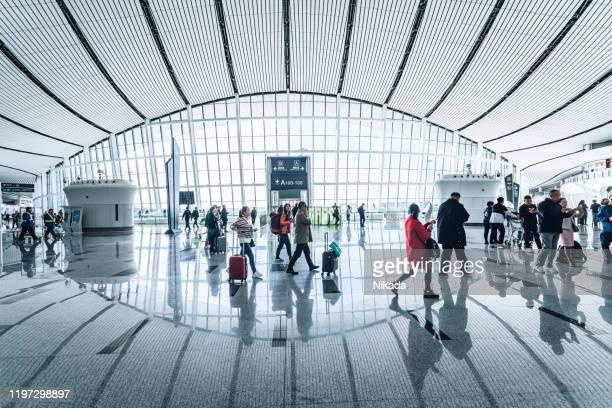 beijing daxing new international airport terminal (pkx) in china. - capitais internacionais imagens e fotografias de stock