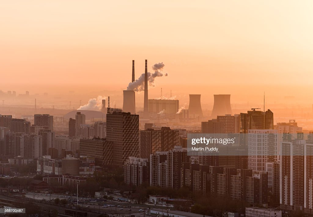 Beijing, factory with smoke coming out of chimneys : Stock Photo