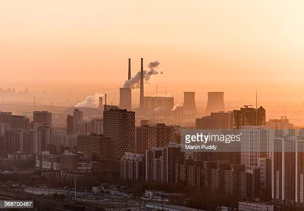 beijing, factory with smoke coming out of chimneys - smog stock pictures, royalty-free photos & images