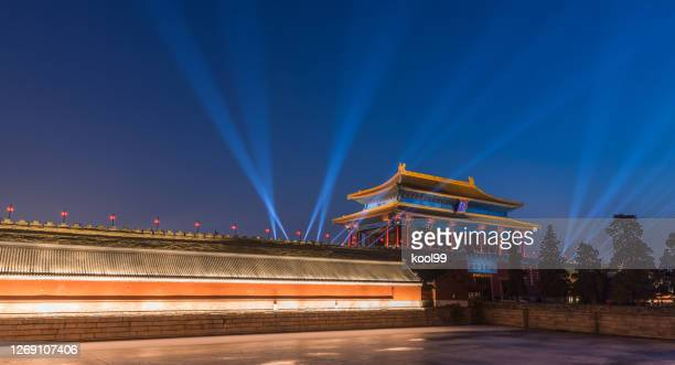 beijing forbidden city night light scene - palace stock pictures, royalty-free photos & images