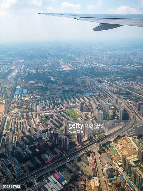 beijing from the air - xuan che stock pictures, royalty-free photos & images