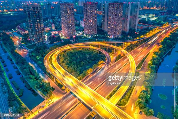 beijing highway aerial view - liyao xie stock pictures, royalty-free photos & images