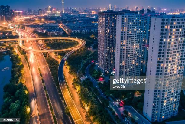 beijing highway aerial view - liyao xie stockfoto's en -beelden