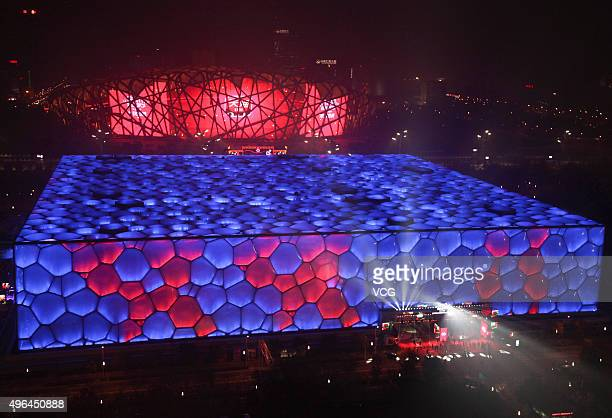 Beijing National Aquatics Center lights up and makes the pattern of Shuang 11 which means double 11 ahead of the 1111 Shopping Festival on November 9...