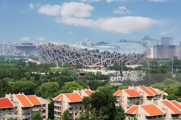 stadio nazionale di pechino (nido d'uccello), cina - stadio olimpico nazionale foto e immagini stock