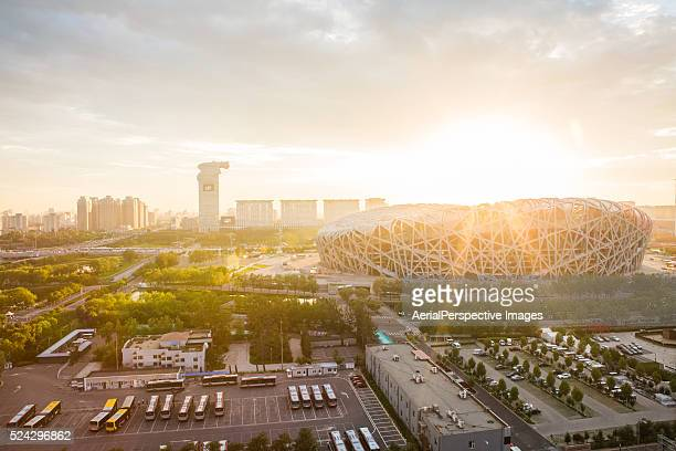 beijing national stadium in sunlight - 国立オリンピック競技場 ストックフォトと画像