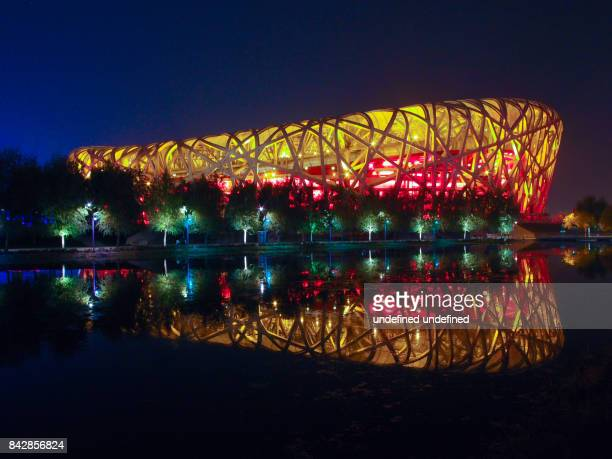 beijing national stadium - birds nest stock photos and pictures